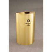 Glaro Recyclepro Single Stream Half Round Satin Brass, 14 Gallon Bottles/Cans - B1899BE