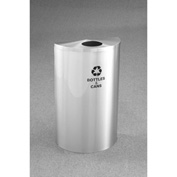 Glaro Value Recyclepro Single Stream Half Round Satin Aluminum, 16 Gallon Bottles/Cans - B1899VSA