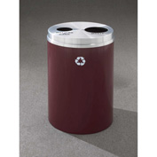 Glaro Recyclepro 2 Stream Burgundy/Satin Aluminum, (2) 16-1/2 Gallon Bottles/Cans/Waste - BW-2032