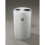 Glaro Recyclepro 2 Stream Satin Aluminum, (2) 16-1/2 Gallon Bottles/Cans/Waste - BW-2032-SA