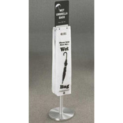 Floor Standing Satin Aluminum Wet Umbrella Bag Holder With Optional Sign Mount