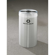 Glaro Value Recyclepro Single Stream Satin Aluminum, 15 Gallon Mixed Recycle - M-1242SA-SA-R