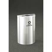 Glaro Value Recyclepro Single Stream Half Round Satin Aluminum, 16 Gallon Mixed Recycle - M1899VSA