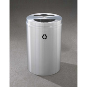 Glaro Recyclepro 2 Stream Satin Aluminum, (2) 16-1/2 Gallon Mixed Recycle/Trash - MT-2032-SA