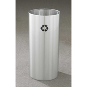 Glaro Recyclepro Single Stream Open Top Satin Aluminum, 11 Gallon Recycle - RO-1223-SA