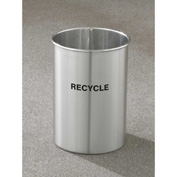 Glaro Recyclepro Single Stream Open Top Satin Aluminum, 5 Gallon Recycle - RO-66-SA
