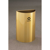 Glaro Recycling Container Half Round Open Top Satin Brass, 16 Gallon - RO1899BE