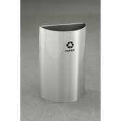 Glaro Value Recyclepro Half Round Collection Open Top Satin Aluminum, 16 Gallon - RO1899SA