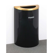 Glaro Recyclepro Single Stream Half Round Satin Black/Satin Aluminum, 14 Gallon Trash - T1899