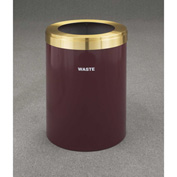 Glaro Value Recyclepro Single Stream Burgundy/Satin Brass, 41 Gallon Waste - W-2042