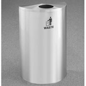 Glaro Recyclepro Single Stream Half Round Satin Aluminum, 14 Gallon Waste - W1899SA