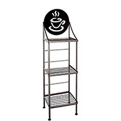 """Art Silhouette Bakers Rack 15""""W - Coffee Cup (Burnished Copper)"""