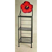 """Art Silhouette Bakers Rack 15""""W - Hibiscus (Aged Iron)"""