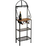 "Gourmet Rack With Maple Shelf - With Brass Tips 19""W (Aged Iron)"