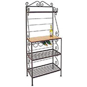 "Gourmet Rack W/Maple Shelf - With Brass Tips 30""W (Aged Iron)"