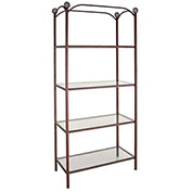 "Etagere - Four Glass Shelves With Rose Motif 38""W (Aged Iron)"