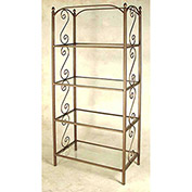 "Etagere - Four Glass Shelves With French Traditional Motif 38""W (Aged Iron)"