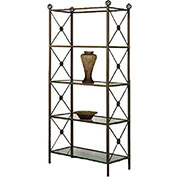 """Etagere - Four Glass Shelves With Neoclassic Motif 38""""W (Champagne)"""
