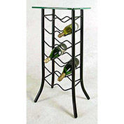 Wine Rack 12 Bottle - With Glass Top (Deep Red)