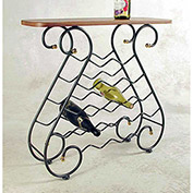 Wine Rack 16 Bottle - With Oak Top, No Tips (Aged Iron)