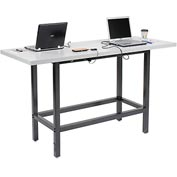 "Standing Height 72""W x 30""D Cafe Charging Table w/ Laminate Edge & Two 115v Duplex Outlets - Black"