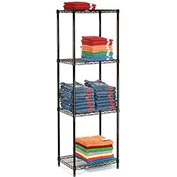 "Nexel Black Epoxy Wire Shelving, 24""W X 18""D X 63""H"