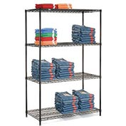"Nexel Black Epoxy Wire Shelving, 48""W X 18""D X 63""H"