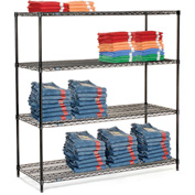 "Nexel Black Epoxy Wire Shelving, 72""W X 24""D X 63""H"