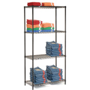 "Nexel Black Epoxy Wire Shelving, 30""W X 18""D X 74""H"