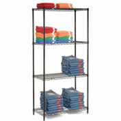 "Nexel Black Epoxy Wire Shelving, 36""W X 18""D X 74""H"