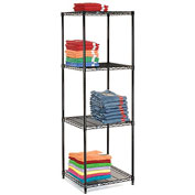 "Nexel Black Epoxy Wire Shelving, 24""W X 24""D X 74""H"