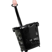 Plastic Roller Shopping Basket Black - Pkg Qty 10