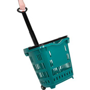 Plastic Roller Shopping Basket Green - Pkg Qty 10