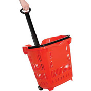 Plastic Roller Shopping Basket Red - Pkg Qty 10