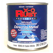 X-O Rust Anti-Rust Enamel, Satin Finish, Satin White, 1/2-Pint - 176826