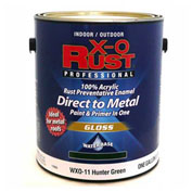 X-O Rust Anti-Rust Enamel, Gloss Finish, Hunter Green, Gallon - 176835