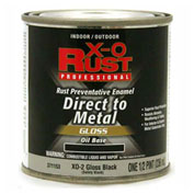 X-O Rust Oil Base DTM Enamel, Gloss Finish, Gloss Black, 1/2-Pint - 371153