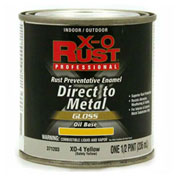 X-O Rust Oil Base DTM Enamel, Gloss Finish, Safety Yellow, 1/2-Pint - 371203