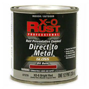 X-O Rust Oil Base DTM Enamel, Gloss Finish, Bright Red, 1/2-Pint - 371278