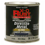 X-O Rust Oil Base DTM Enamel, Gloss Finish, Blue, 1/2-Pint - 371393