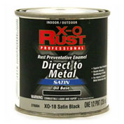 X-O Rust Oil Base DTM Enamel, Satin Finish, Satin Black, 1/2-Pint - 376004