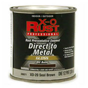 X-O Rust Oil Base DTM Enamel, Gloss Finish, Seal Brown, 1/2-Pint - 380071