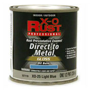 X-O Rust Oil Base DTM Enamel, Gloss Finish, Light Blue, 1/2-Pint - 527119
