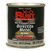 X-O Rust Oil Base DTM Enamel, Gloss Finish, Orange, 1/2-Pint - 527192