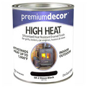Premium Décor Siliconized Hi-Heat Enamel, Flat Finish, Black, Quart - 597776