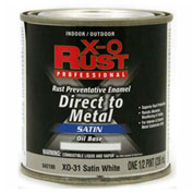 X-O Rust Oil Base DTM Enamel, Satin Finish, Satin White, 1/2-Pint - 642199