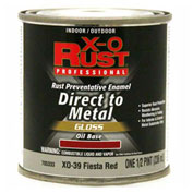 X-O Rust Oil Base DTM Enamel, Gloss Finish, Fiesta Red, 1/2 Pint - 705333
