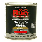 X-O Rust Oil Base DTM Enamel, Gloss Finish, Hot Red, 1/2 Pint - 705386