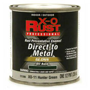 X-O Rust Oil Base DTM Enamel, Gloss Finish, Hunter Green, 1/2-Pint - 721396