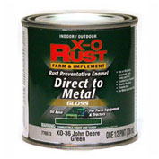 X-O Rust Brush-On Enamel, Gloss Finish, Grass Green, Matches John Deere Green, 1/2-Pint - 776573